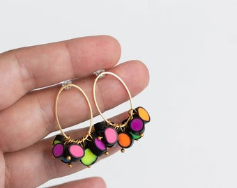 Neon Polymer Clay Earrings, Neon Multicolor Statement Earrings, Rainbow Raindrops colection, Neon pink, Neon yellow, Neon green, Neon orange