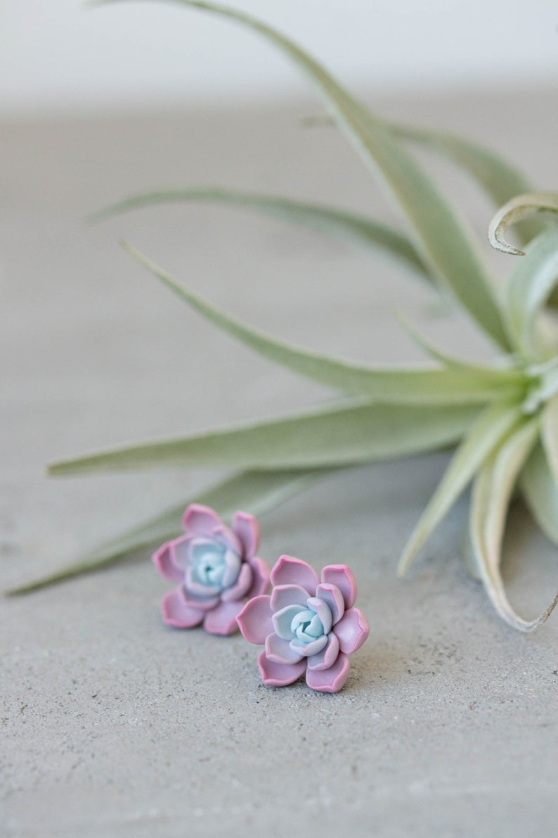 Succulent Stud Earrings  Lilac Purple Echeveria Plant Polymer image 0