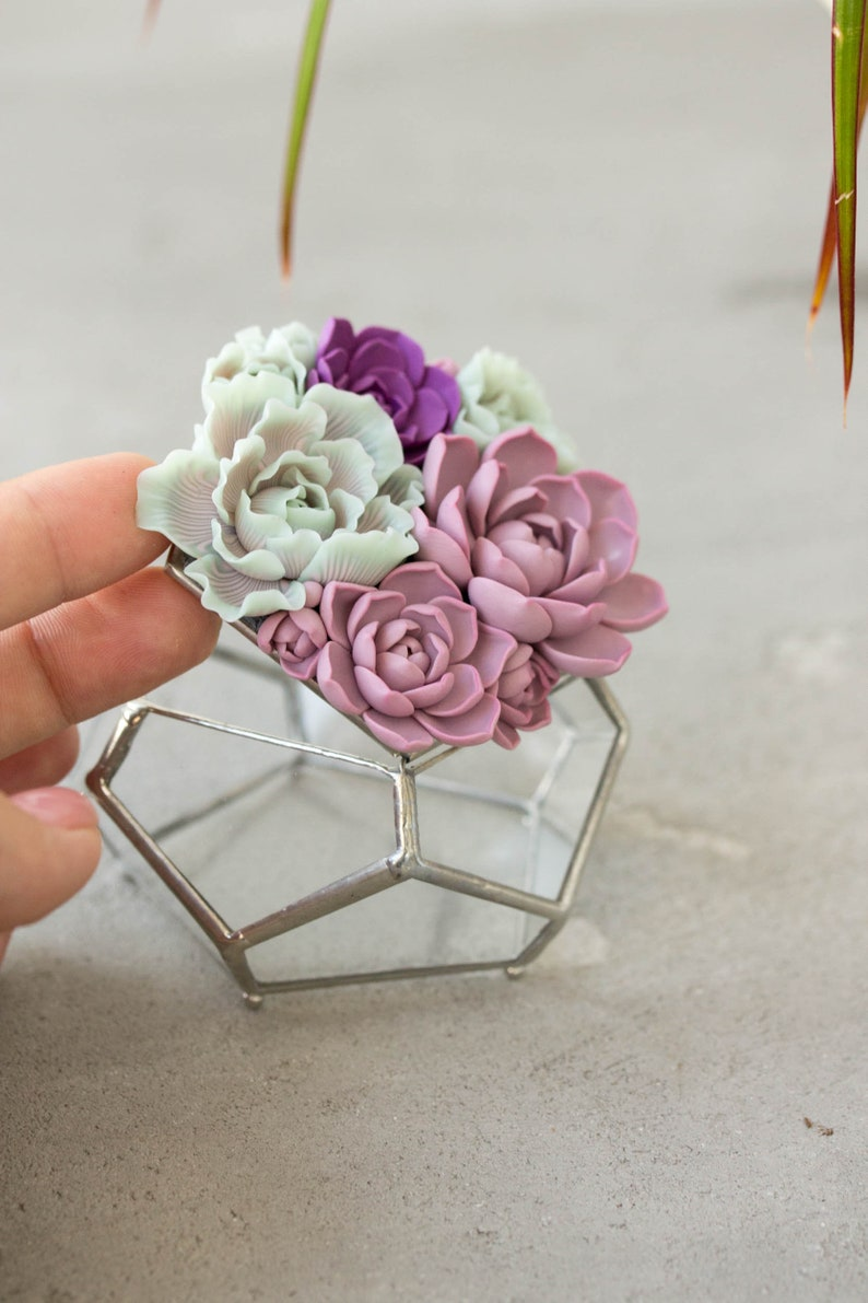 Glass ring box with succulents Only One image 0