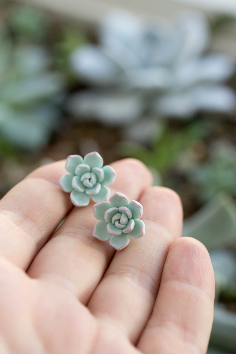 Succulent Stud Earrings  Blue Purple Echeveria Plant Polymer image 0