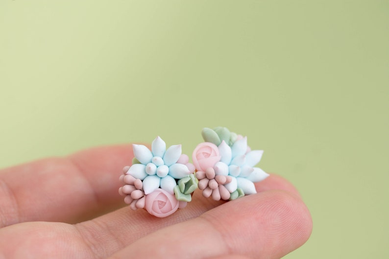 Pink Blue Echeveria Plant Hypoallergenic Earrings Small Succulent Jewelry Gift Plant Lover Gift rose pink studs Succulent Stud Earrings