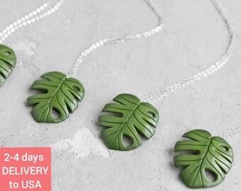 Big Green Monstera leaf necklace FN001