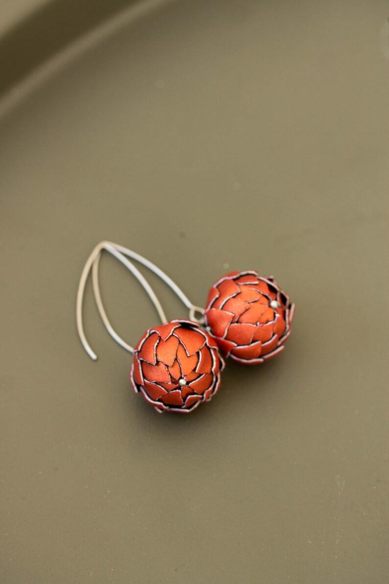 Burnt Orange Artichoke Dangle Earrings Bronze Terracotta image 0