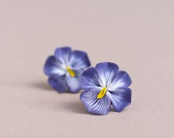 Pansy Earrings Stud Clip-on earrings - Flower Stud Earrings Jewelry, Bridal and Bridesmaid Earrings, Hypoallergenic Studs