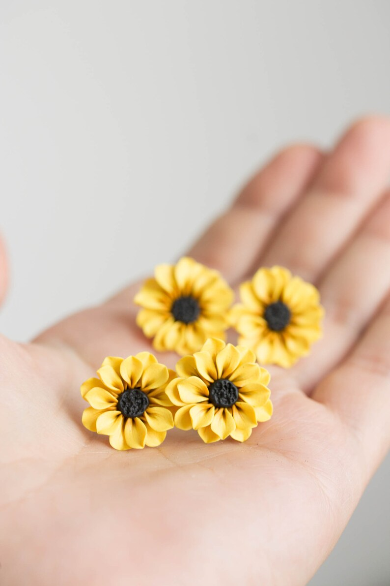 Yellow Sunflower Stud Earrings. Handmade Unique Sunflowers image 0