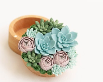 Unique Green Blue Succulent Ring Box, only one