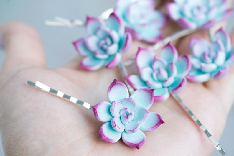 Blue Succulent Hair Pins Hairpin Piece Bobby Pins Hair Etsy