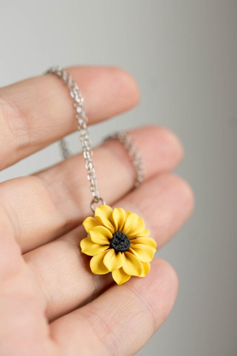 Yellow Sunflower Necklace Jewelry. Choker Sunflower. Flower image 0