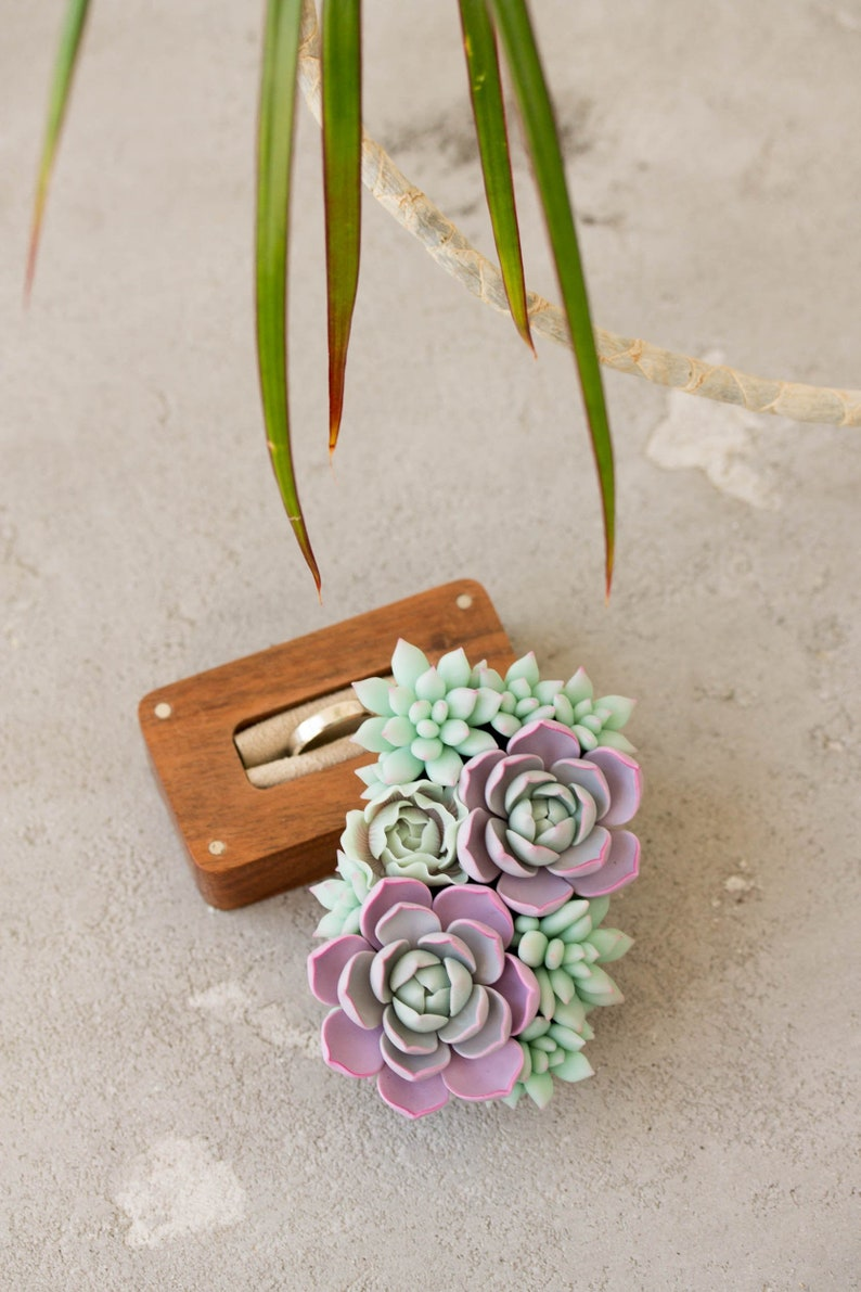 Succulent Ring Bearer Box  Wooden Eco Wedding Ring Holder or image 0