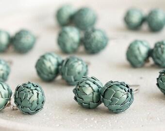 Blue Green Artichoke Dangle earrings DE019