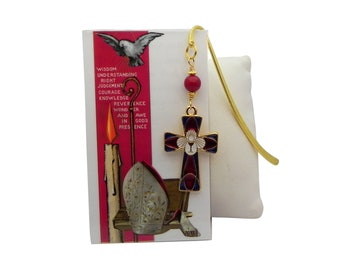Confirmation Bookmark with Prayer Card, First Communion Gift, Confirmation Gift, Confirmation Cross, First Communion Boy, 1st Communion Girl