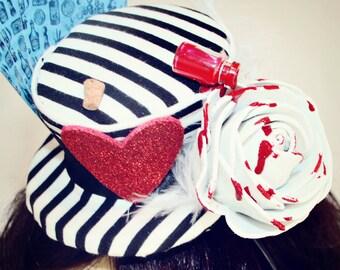 steampunk alice hat, dark alice costume,alice costume hat,mad hatters tea party,wonderland art,burlesque costume,costume hat