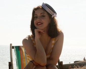 Navy pillbox hat, sailor hat, sailor girl costume