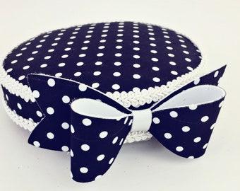 Polka dot pillbox hat, vintage hat, fascinator hat