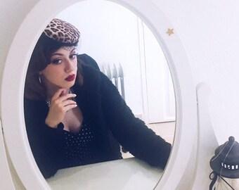 Leopard pillbox hat, veiled pillbox hat, leopard print fascinator hat