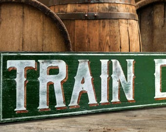 54ef214137 Train Depot Wood Sign - Handcrafted Antique Train Decor