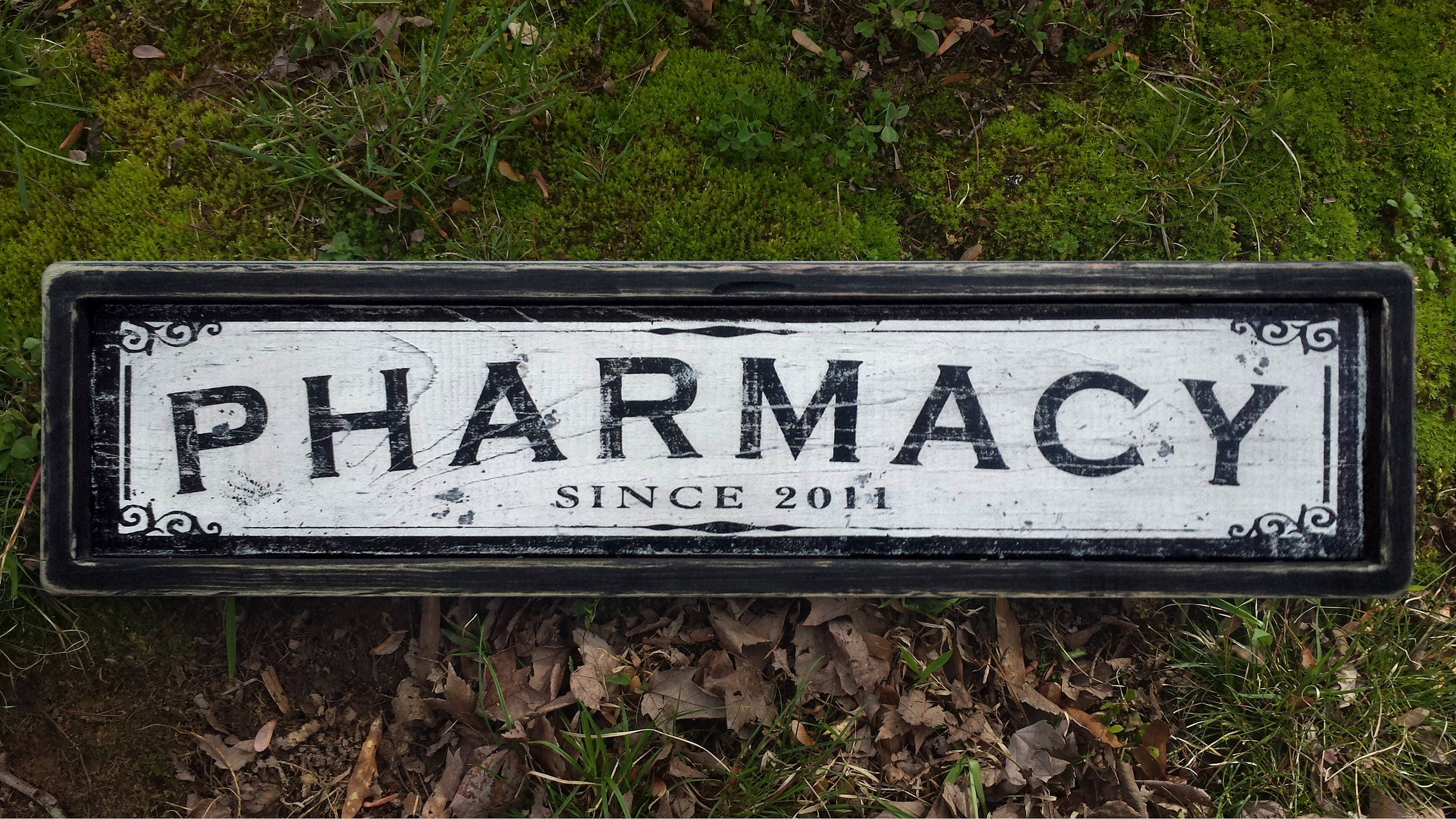 Pharmacy Wood Sign Antique Style Handmade Wooden Decor Etsy