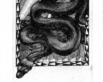 Oshio Shozan III Akahada-ware Year of the Snake Okimono Koedo