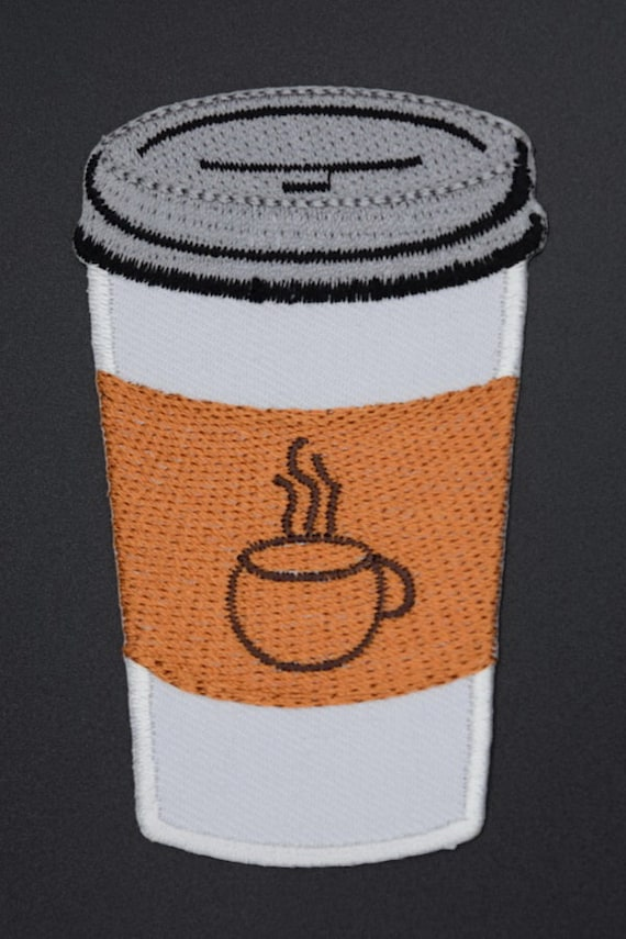 Brown Cup//Saucer Iron on Applique//Embroidered Patch Coffee//Espresso//Latte