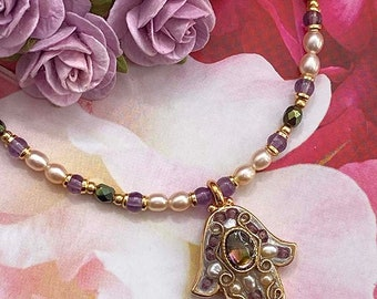 Michal Golan Small Amethyst and Abalone Hamsa Necklace