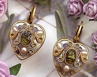 Michal Golan Antique Amethyst and Abalone Heart Earrings, Handmade in Our NYC Studio, Plated in 24k Gold