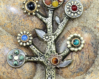 Handmade Tree of Life pin with semi-precious stones. Spiritual and Unique Brooch w. Jasper, Turquoise and Sodalite