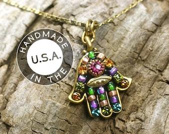 Michal Golan Multicolor Black Mosaic Hamsa Chain Necklace