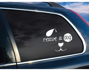 Car Window Vinyl Outdoor Dog Rescue Lettering Custom Customized Personalized Vehicle Sticker Decal Sticker Rear