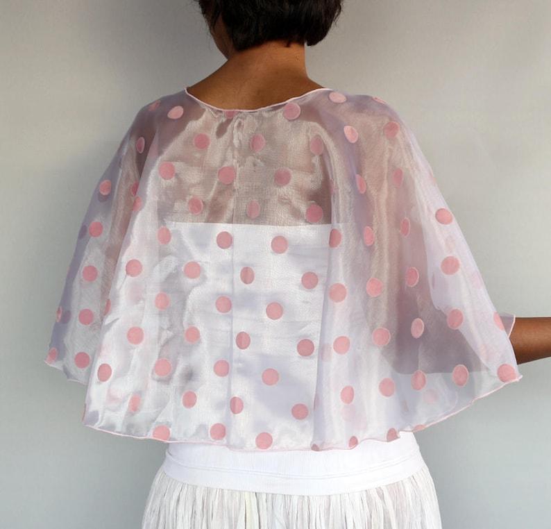 Sheer Bridal Cape White Organza Bridal Capelet Gown Coverup Bolero Shrug Pink Dotted Retro Wedding Cape