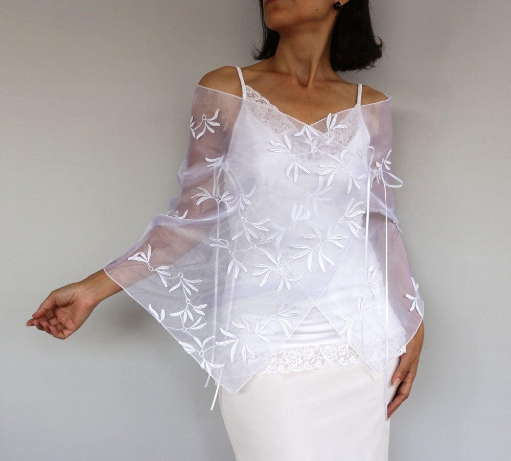 White Organza Bridal Shawl Stole Shoulder Wrap Wedding