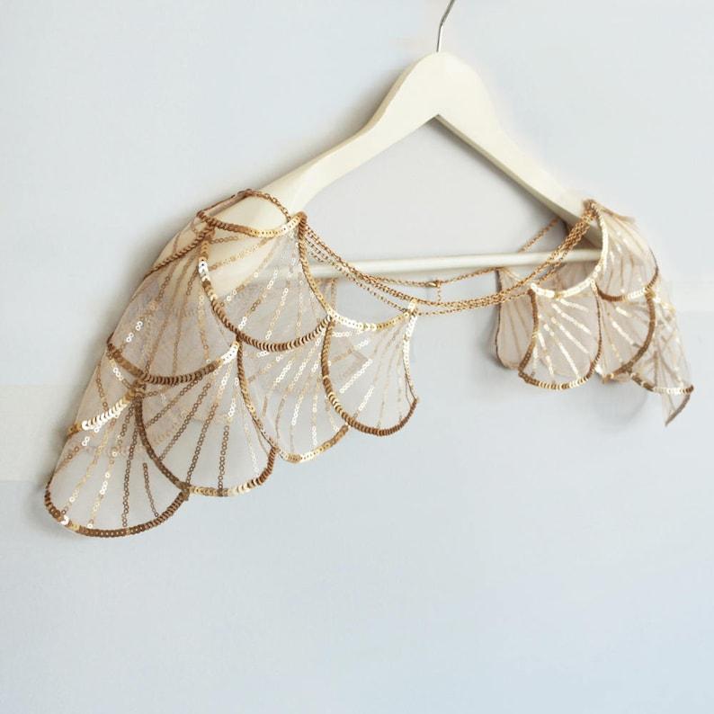 Gold Sequin Bridal Capelet Shoulder Harness Wedding Caplet image 1