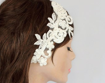 FREE SHIPPING Wedding Fascinator, Bridal Headband Made with Ivory Floral Lacy Tulle Applique. Handmade