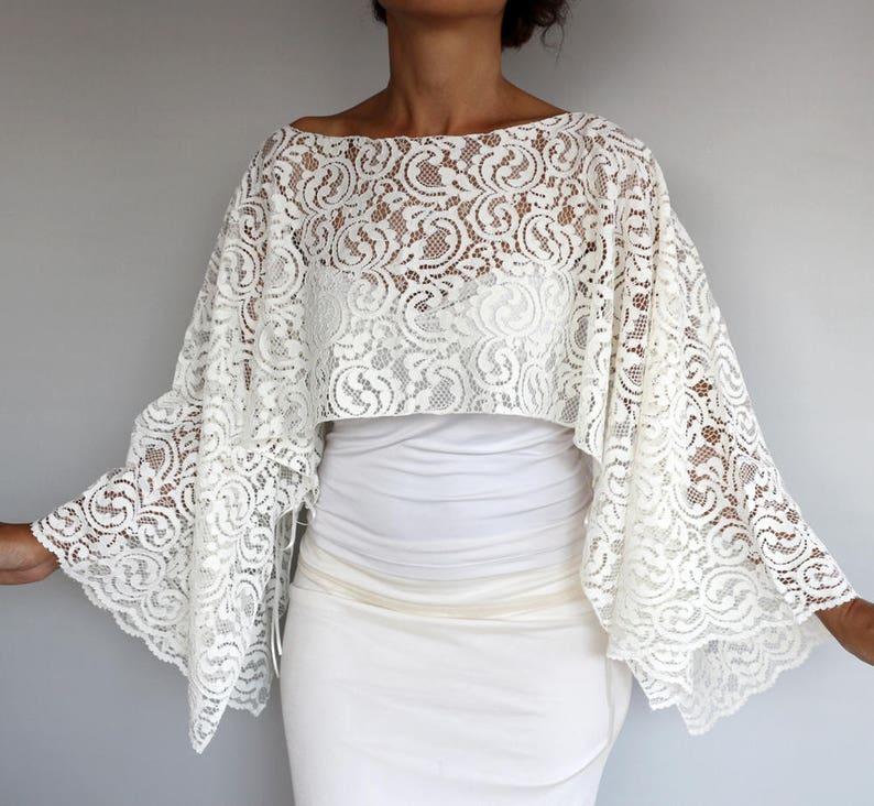 957540ff40 Ivory Lace Bridal Bolero Top Cream Wedding Poncho Shrug | Etsy