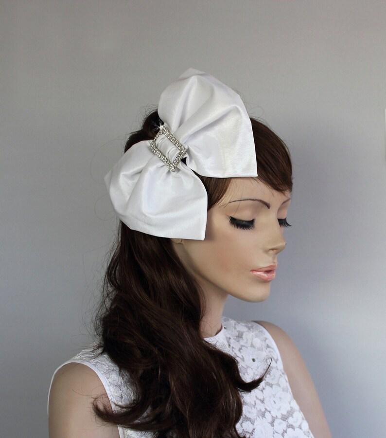 7ede9b99faba8 Big Bow Bridal Hair Fascinator Headband OOAK Taffeta Weddings