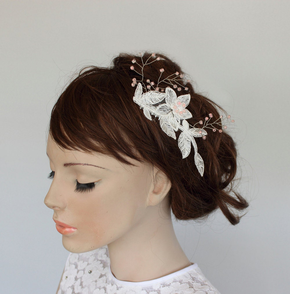 Headpieces For Weddings Australia: Bridal Hair Fascinator Applique Lace Headpiece Comb Pastel
