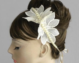 Bridal Pearl Headband & Statement Necklace, Double Usage, Handmade Bridal Accessory, Unique Design