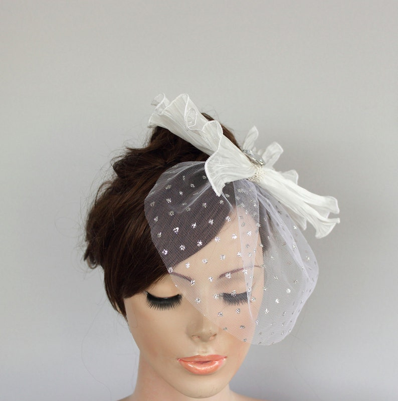 d06186dc59678 Wedding Hair Fascinator Silver Dotted Tulle Mini Blusher