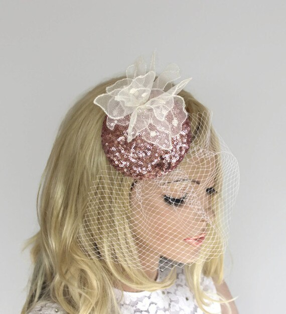 e51cf14d009c1 Blush Bridal Hat Wedding Fascinator Pink Sequined Birdcage