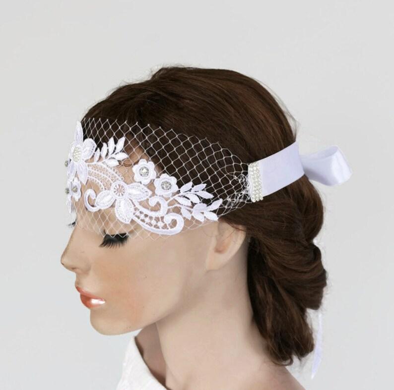 c5af621f808f3 Bridal Bandeau Veil Ribbon Headband Birdcage Headpiece Wedding