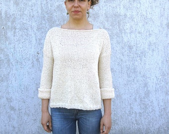 Hand knitted sweater / cream knit sweater