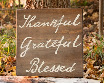 Thankful, Grateful, Blessed, Thanksgiving, Rustic Decor, Rustic Sign, Thanksgiving Decor, Farmhouse, Country, Fall Wood, Rustic Fall, Autumn