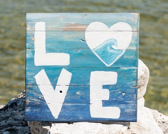 Ombre Ocean Love wood sign, Beach house decor, Gifts for Her, Wall Decor, Unique Ocean Decor, Wood Pallet