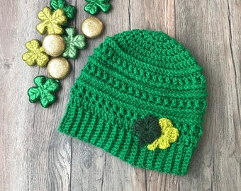 Shamrock hat, St Patrick's Hat, Lucky Hat, 4 leaf clover Hat, St Patrick's beanie, Shamrock beanie, Irish Beanie, lucky beanie