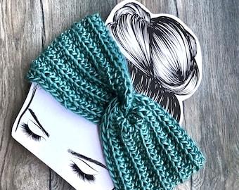 Teal Blue Headband, Women's twist ear warmer, Wide Twist Turban crochet, Adult womans ear warmer, Winter headband,Ready to ship
