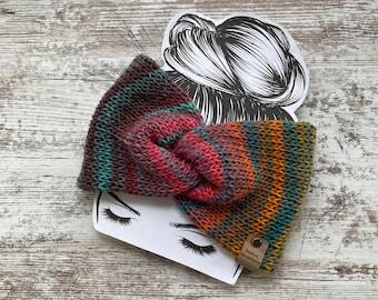 Multi colored double knit ear warmer, messy bun, ponytail hat, twisted headband, twisted ear warmer, turban ear warmer, head wrap, winter