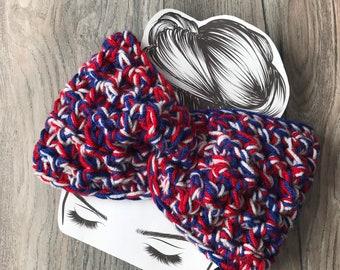 NY Giants Buffalo Bills New England Patriots headband ear warmer, red, white, blue, patriotic winter