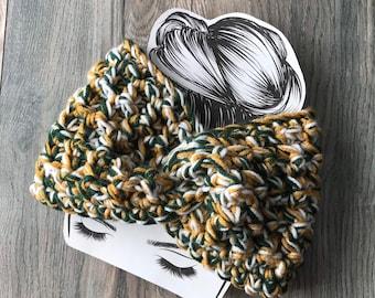 Green Bay Packers ear warmer, Oregon Ducks Headband, green white gold, Wisconsin messy bun