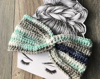 Women's winter headband, winter headband, winter headwear, winter earwarmer, messy bun headband, ponytail headband