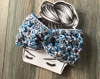 Detroit Lions ear warmer, Light Blue, silver, white, North Carolina Tarheels Headband