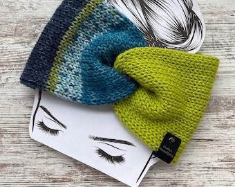 Knit twist headband, winter headband, womens earwarmer, blue and lime green